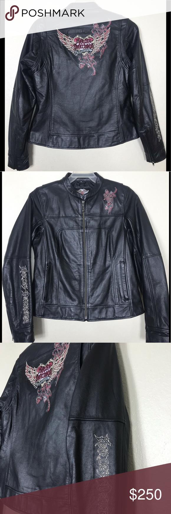 Harley Davidson Spontaneity Leather Jacket Sz M Clothes Design Burgundy Jacket Outfit Leather Jacket [ 1740 x 580 Pixel ]