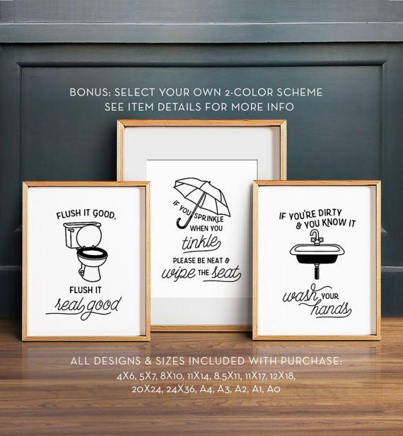 Photo of Funny bathroom art, PRINTABLE art, Bathroom wall decor, If you sprinkle when you tinkle, Bathroom prints, Flush toilet sign, Kids bathroom