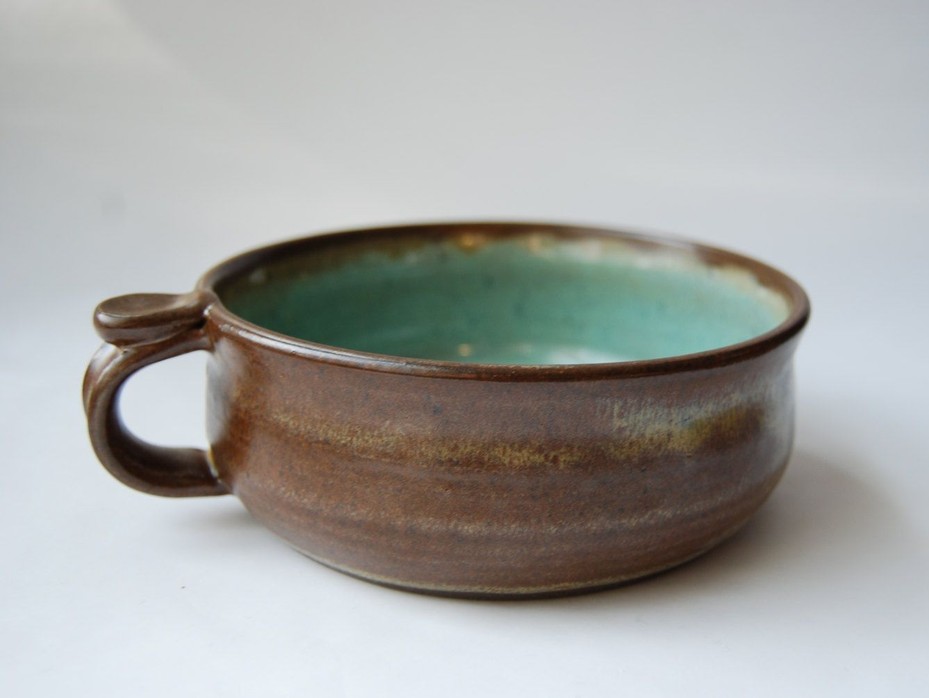recycled glass handmade pottery brown and turquoise bowl