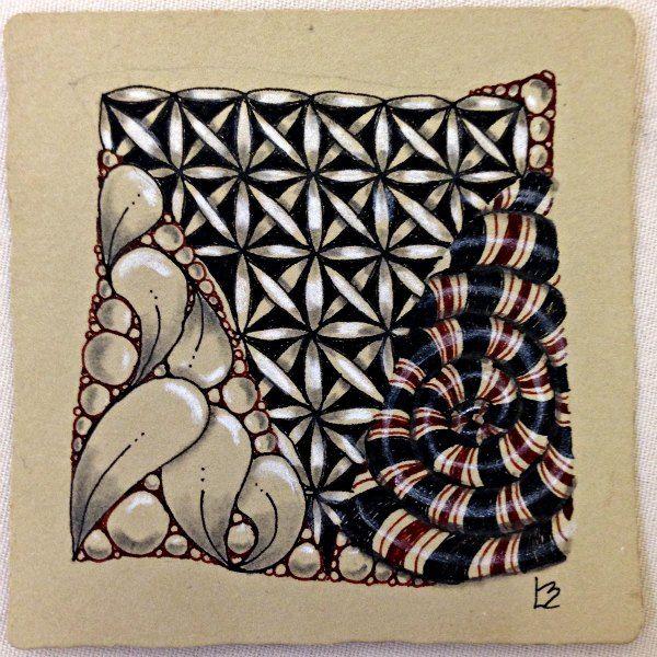 Black Circleart: Tan Renaissance Zentangle Tile Using Brown Ink Pens And