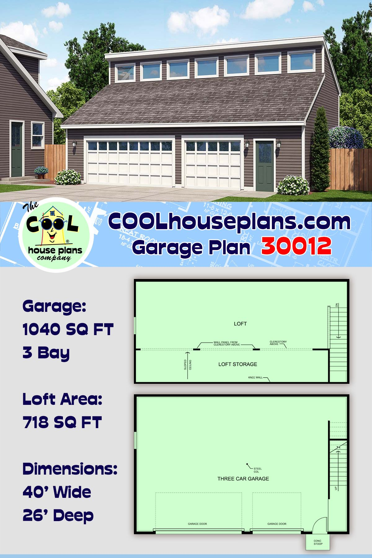 Contemporary Style 3 Car Garage Plan Number 30012 Garage Plan 3 Car Garage Plans Building A Garage
