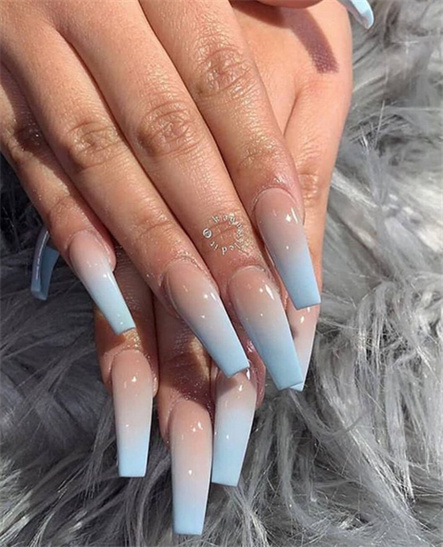 The Ombre Coffin Nails Design Are So Perfect For 2019 Spring And Summer Ombrenails Coffinnails Ombre Acrylic Nails Pretty Acrylic Nails Coffin Nails Designs