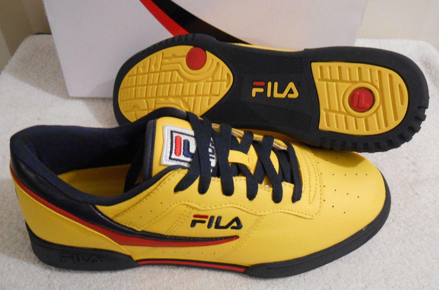 7cd96e8317dd Men s FILA Original Fitness Lemon Navy Red Sneakers Shoes Size 12  1FM00081-732