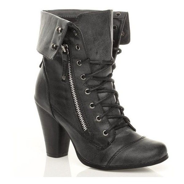 WOMENS LADIES CUFF COLLAR MILITARY LACE UP COMBAT HIGH HEEL ANKLE BOOT   liked on Polyvore