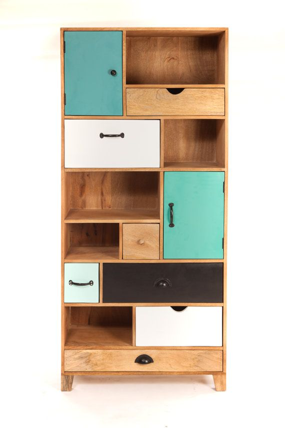 Design bookshelf wood drawers by sweetmangofrance on etsy for Mobili design scontati