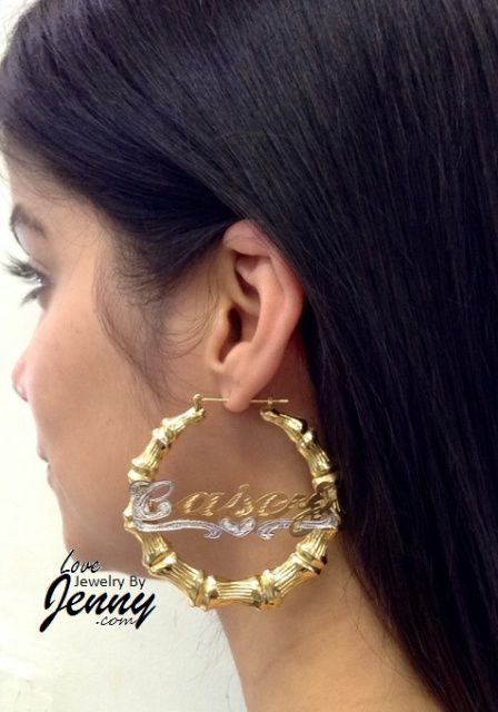 14k Gold Overlay Bamboo 2 1 4inch Any Name Earrings Personalized