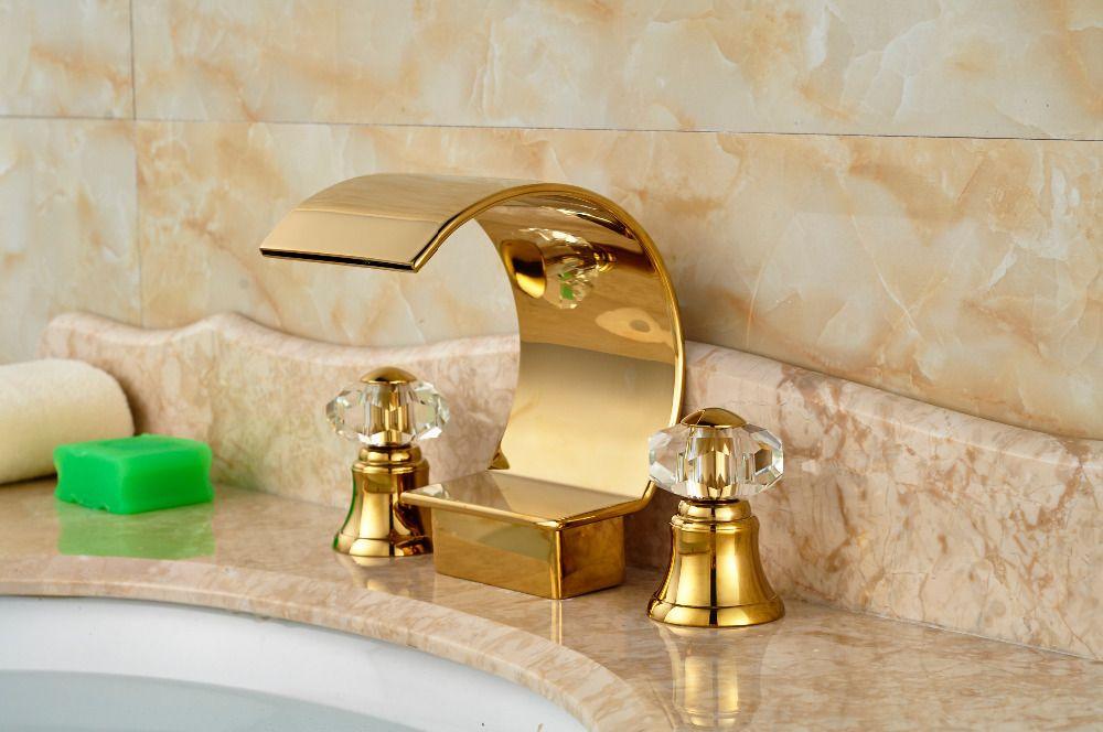 Goedkope luxe deck mount gaten bad badkamer waterval wastafel