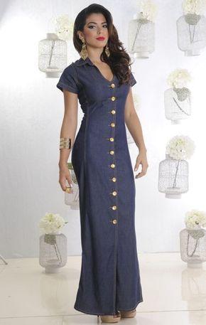 Evening Dresses · The Dress · VESTIDO LONGO JEANS COM BOTÕES FRENTE 155da62512d8