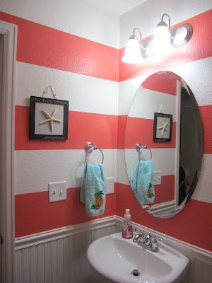 Coral Striped Bathroom Coral Bathroom Coral Bathroom Decor Bathroom Decor Colors
