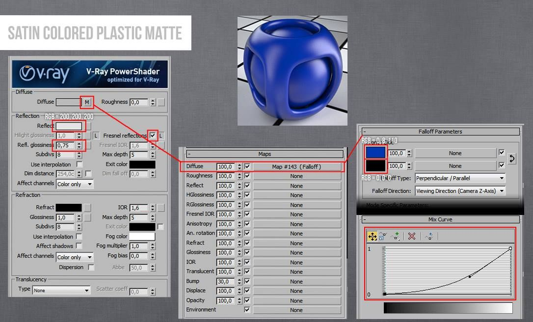 Vray Plastic Satin Colored Material 3ds Max | V-ray Material