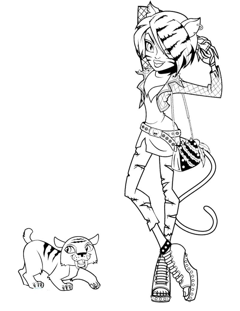 monster high pets coloring pages posts related to toralei stripe monster high and pet coloring page