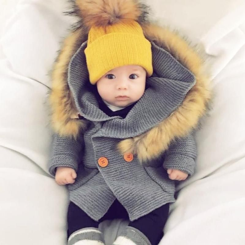 3eee35856a92 Infant Knitted Sweater With Cute Ears and Fur Hood