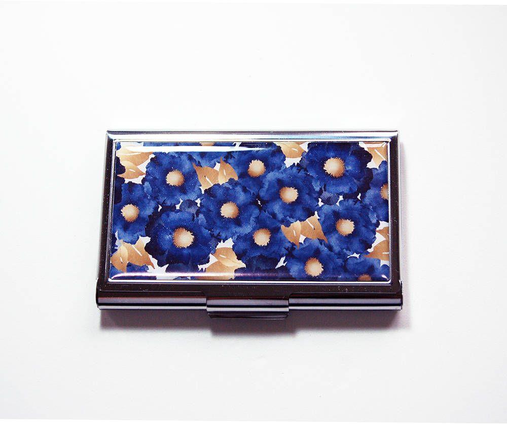 Business Card Case, Blue Gold Floral, Card Case, Business Card Holder, Navy  Blue, Gift For Her, Modern Design, Blue Flowers (7604)