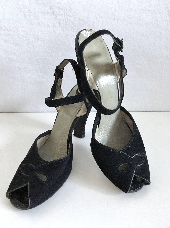 Black Velvet Peep Toe Heels Size 6