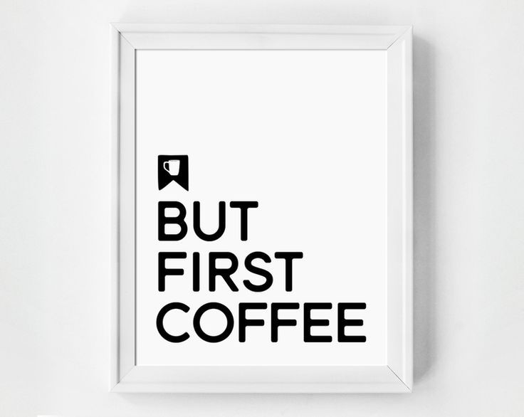 Minimalist Typographic Art Print. Great gift idea for the coffee lover in your life. Click through to see this design in a variety of sizes, and as a canvas print. Stylish designs to inspire your home decor!