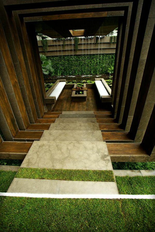 außenarchitektur moderne gartengestaltung stufenförmig sitzecke - moderne gartengestaltung mit pool