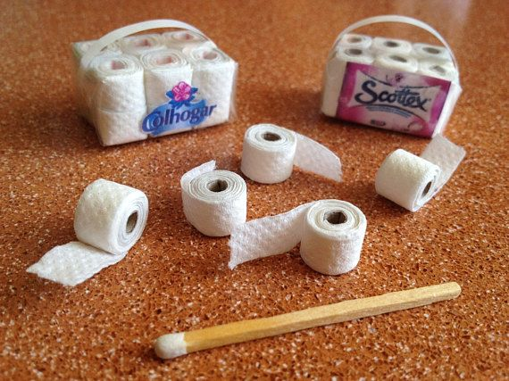 Items similar to Toilet Paper Miniature package of 12 rolls to decorate your bathroom's dollhouse on Etsy #barbiefurniture