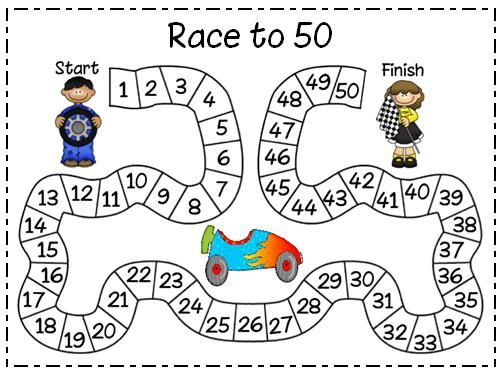 50th day of school: Race to 50. It's played in pairs and