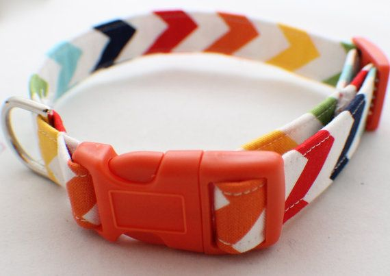 Personalized Multi Color Chevron Fabric Dog Collar by MBEmbroidery, $17.50