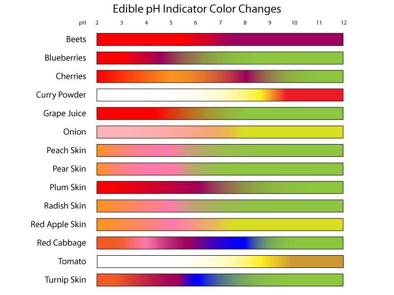 Edible ph indicators color chart ph chemistry and Color change definition science