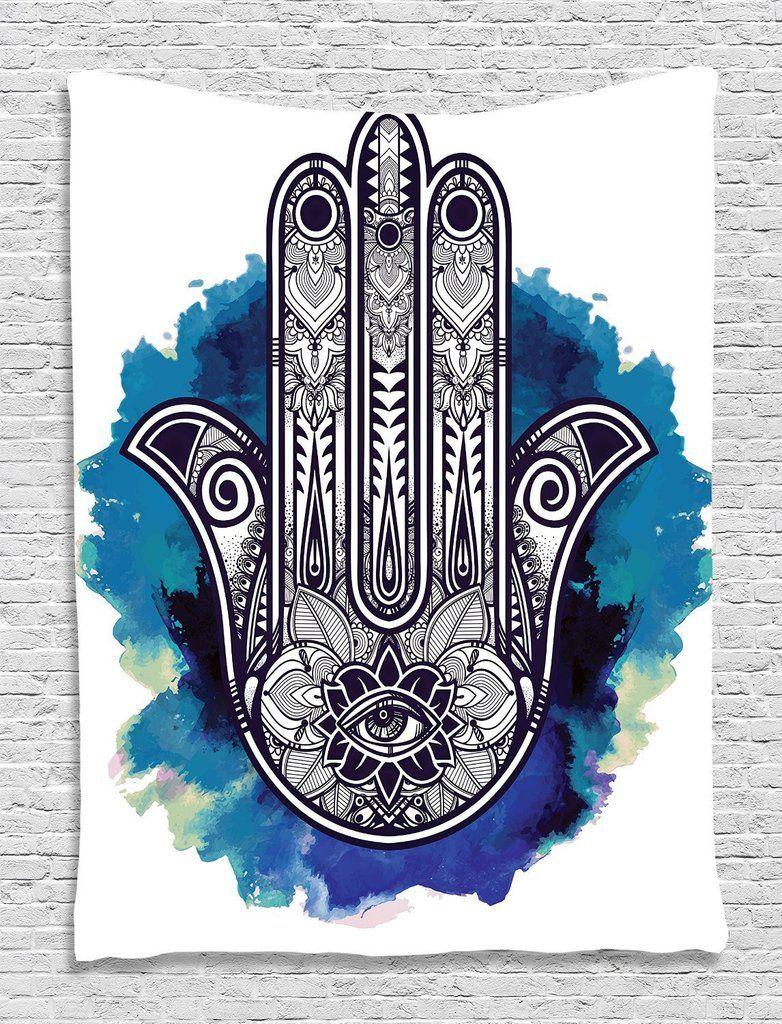 Evil Eye Tapestry Watercolor Hamsa Art Print Wall Hanging Decor