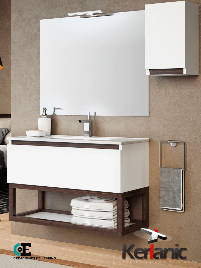 Mueble de baño Tiza 1 cajón 60 cm (conjunto mueble+Lavabo ...