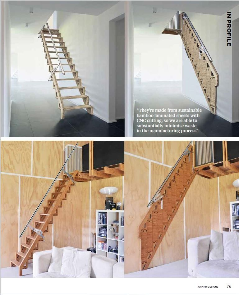 Escalera plegable contra la pared ideas pinterest stairs loft stairs y ladder - Escalera plegable altillo ...