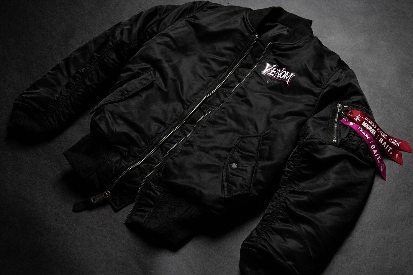 f054acaa284 BAIT Marvel PUMA Cell Venom black white movie film release info alpha  industries ma-1 bomber jacket