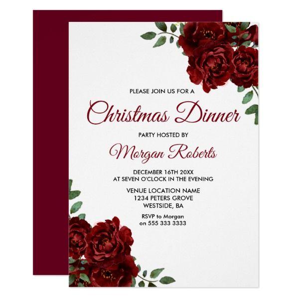 Burgundy red rose christmas dinner party invite party invitations burgundy red rose christmas dinner party invite stopboris Gallery