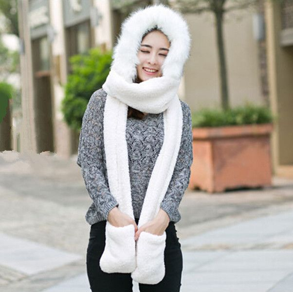 df3e92986122c Warm plush hat scarf and gloves all in one for women