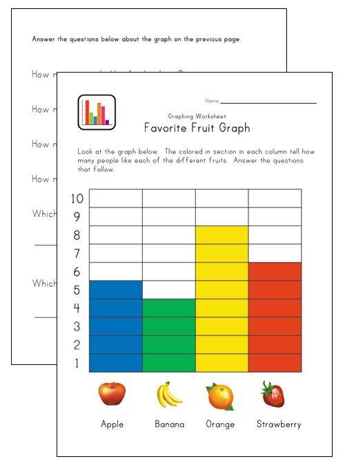 Graphing worksheets for kindergarten pinterest