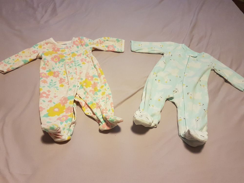 694f7e837 Carter s Baby Girls  Lot of 2 Footed Romper One Piece Fleece ...