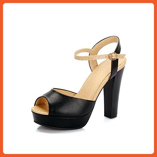 f39ce339e4aed WeenFashion Women's PU Assorted Color Buckle Peep Toe High-Heels ...