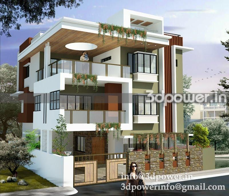 Modern Home Elevation Designs: 3D Front Modern Elevation