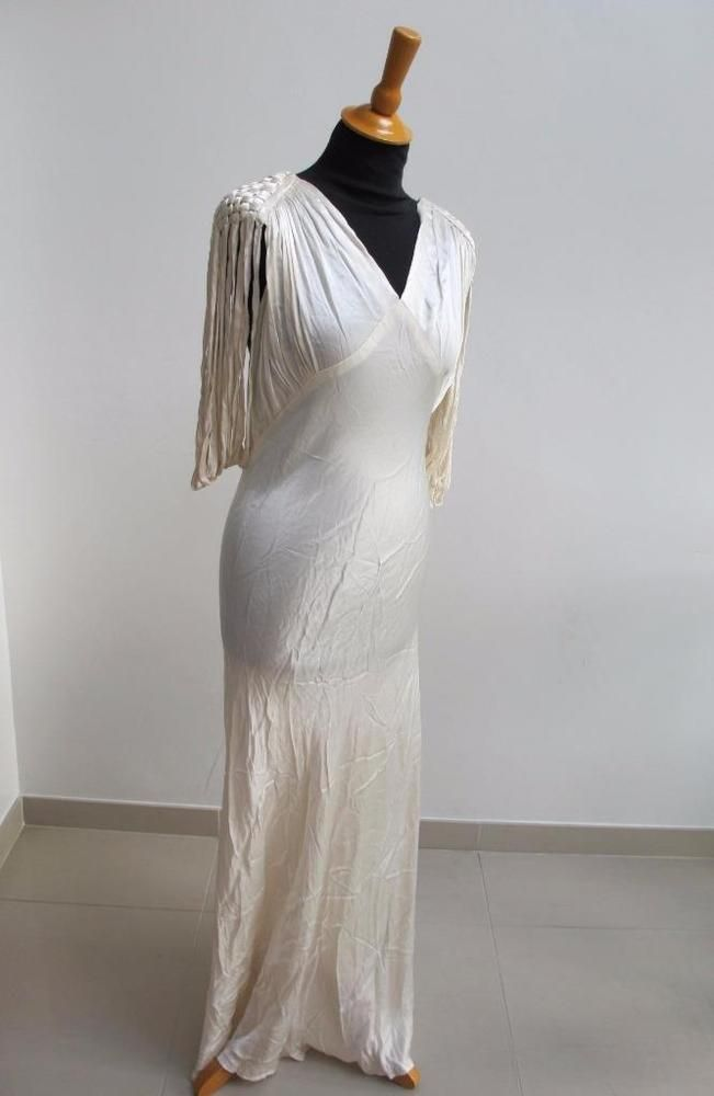 VINTAGE 1930 s IVORY BIAS CUT LIQUID SATIN WEDDING DRESS GOWN | eBay ...