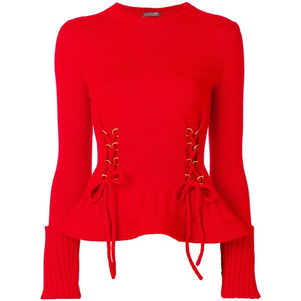 Alexander McQueen lace-up detailed jumper (4.370 BRL) ❤ liked on ...