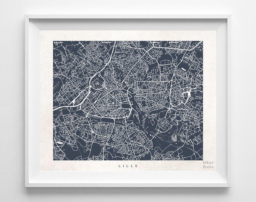 Lille France Street Map Print