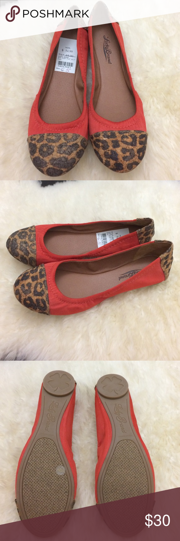 NWT Lucky Brand Flats New, never worn Lucky Brand flats! Dark orange with cheetah print accents on toe and heel. Flexible, comfortable and cute. Lucky Brand Shoes Flats & Loafers