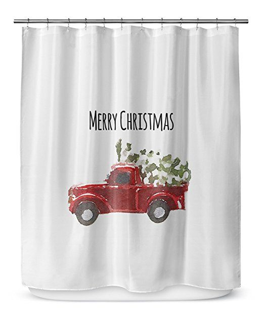 Kavka Designs Christmas Truck Shower Curtain Red Green Black