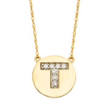 10k Gold 1 10 Carat T W Diamond Initial Necklace Diamond Initial Necklace 10k Gold Disc Pendant