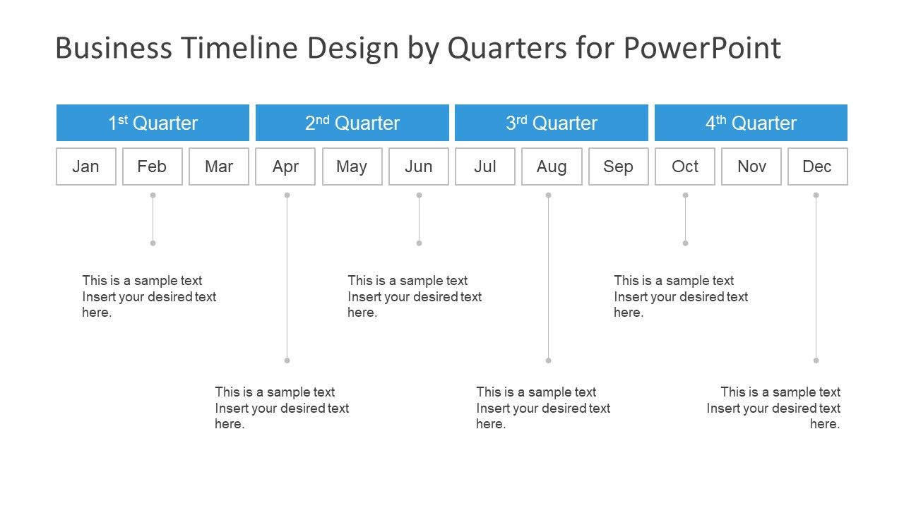 Business Timeline Design By Quarters For Powerpoint Timeline