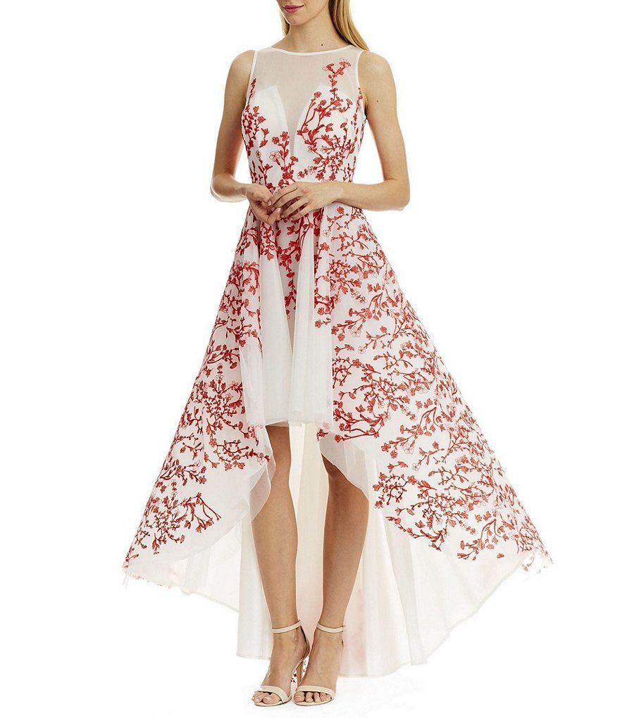 White/Coral:Nicole Miller New York Embroidered Mesh Hi-Low Dress ...