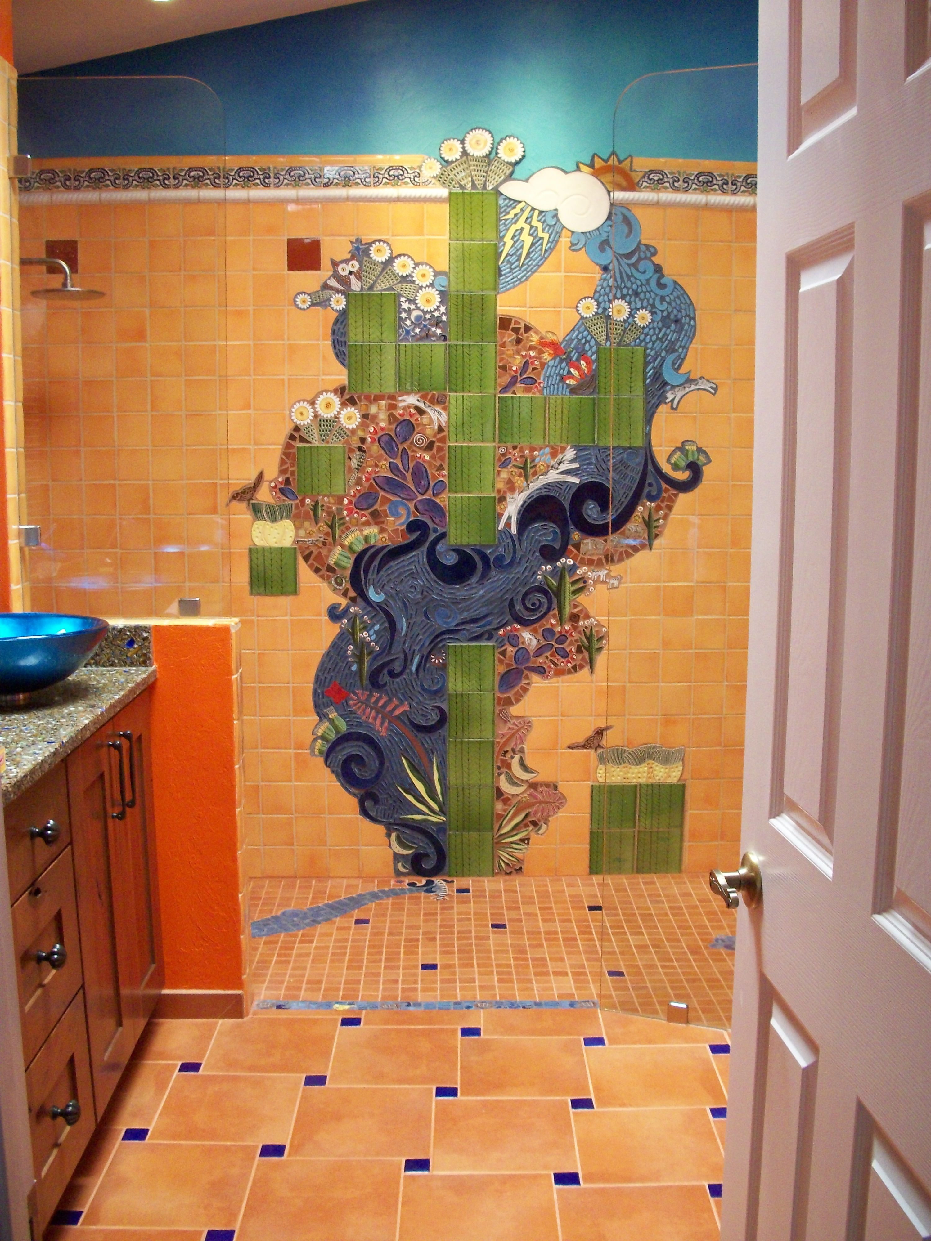 A perfect storm southwest style a commissioned handmade tile a perfect storm southwest style a commissioned for a bathroom wall custom designed by sondra etter santangelo theresa tile works artist donna stoner amipublicfo Choice Image