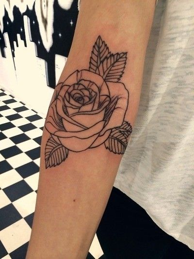 Outline Rose Tattoo On Girl Right Arm With Images Rose Outline