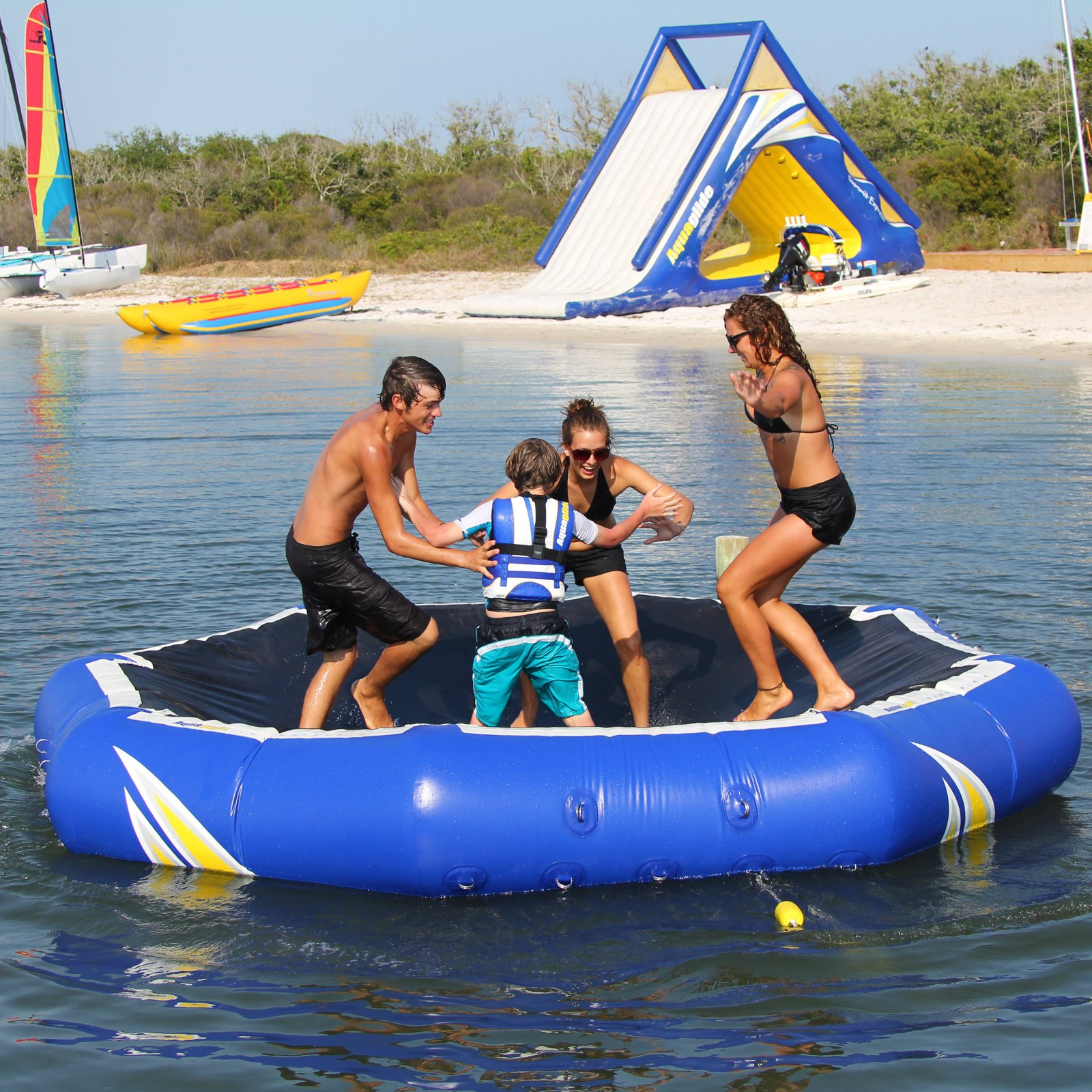 NEW Aquaglide Inversible 8 Person Water Lounge /& Platform in Blue Color