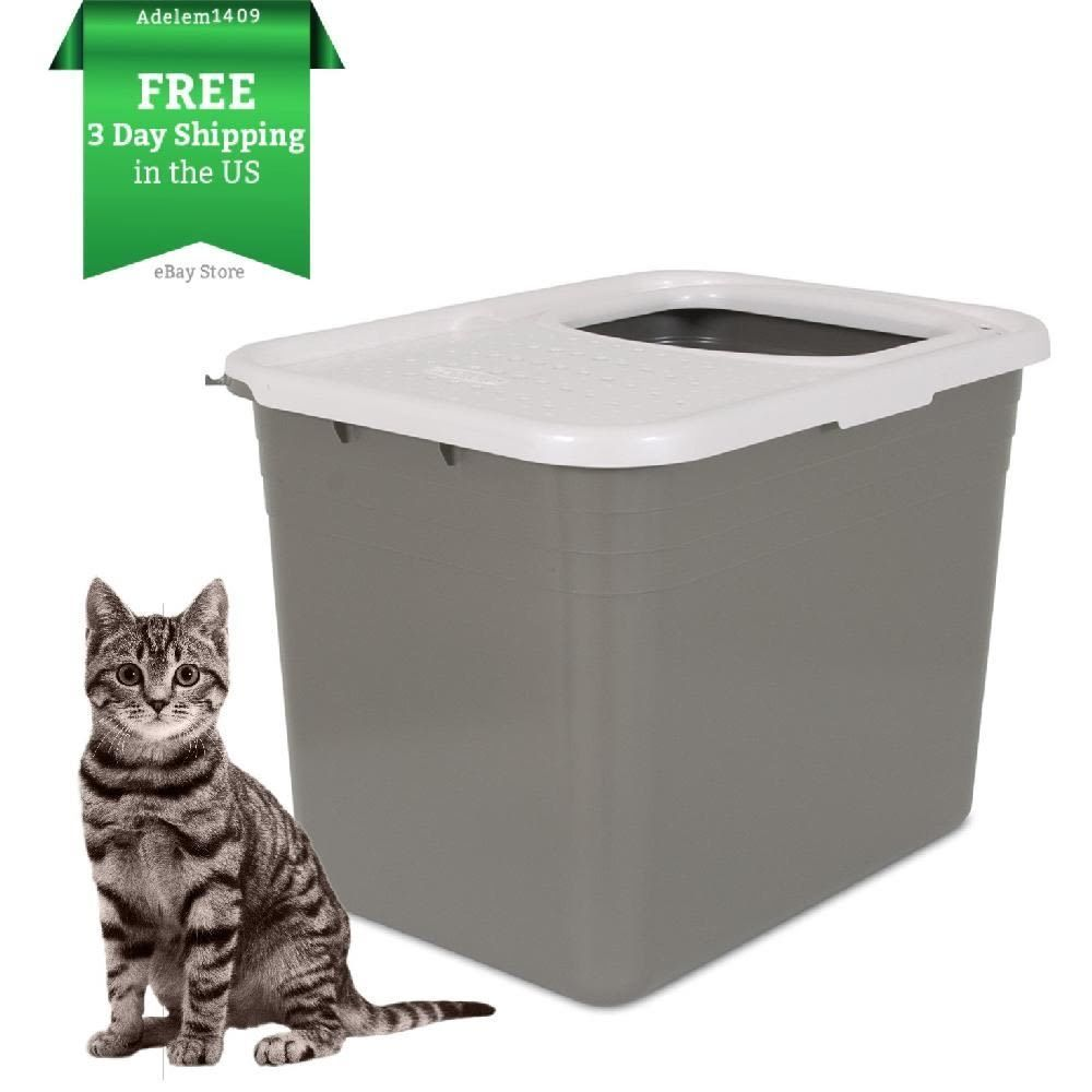 Large Cat Litter Box Pan Top Entry Enclosed Hooded Covered
