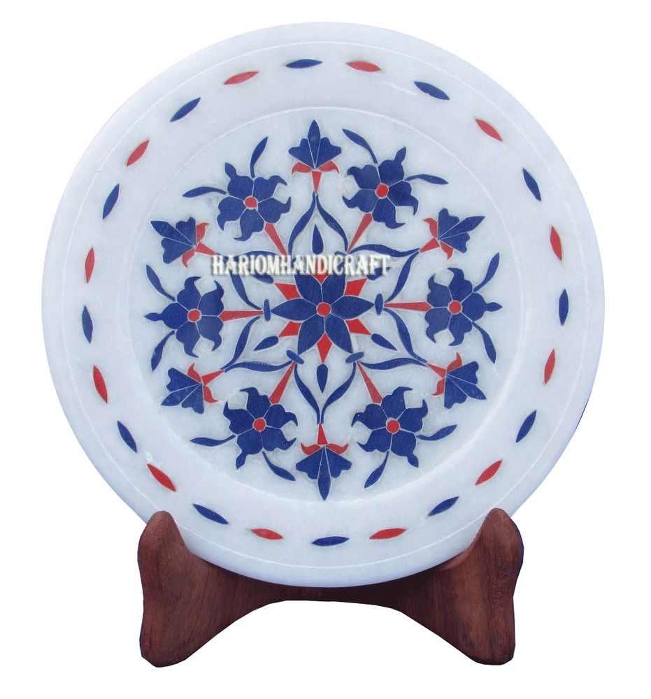 14  Marble Round Cake Plate Real lapis Stone Mosaic Inlay Floral Home Arts H2762  sc 1 st  Pinterest & 14