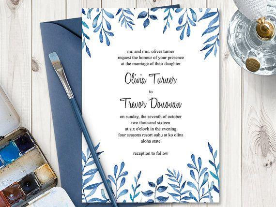 Printable Watercolor Wedding Invitation Template  - invitation template nature