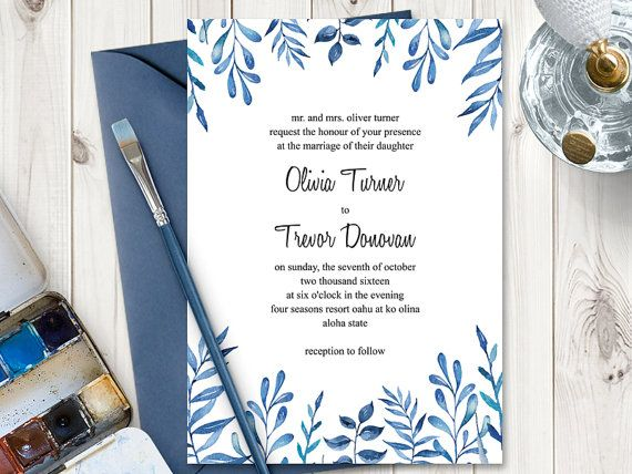 Printable Watercolor Wedding Invitation With Blue Wedding