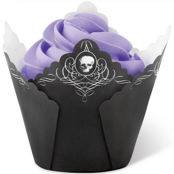Black Skull Pleated Baking Cup by Wilton Cupcake Baking Cup Liners - wilton halloween cupcake decorations